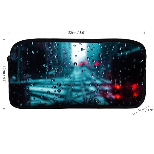 yanfind Pencil Case YHO  H Window Waterdrops  Droplets Glass  O Drops Raindrop Zipper Pens Pouch Bag for Student Office School