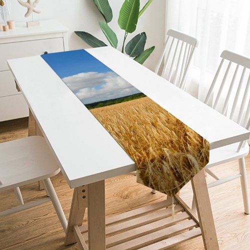 Yanfind Table Runner Mountains Streams Lake Glacier Trees Resources Watercourse Stream Natural Landscape River Wilderness Everyday Dining Wedding Party Holiday Home Decor
