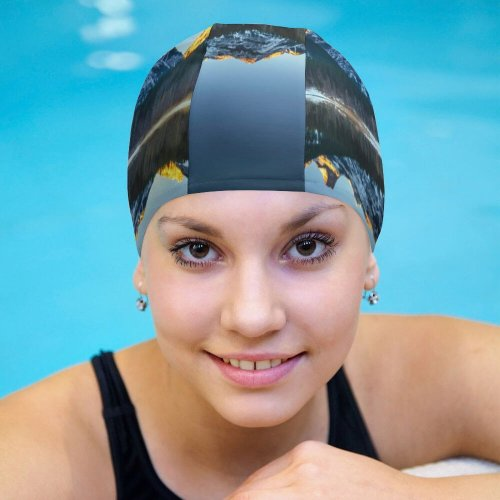 yanfind Swimming Cap  Pond Banff National Park Alberta  Clear Sky Sunrise Alpenglow First Elastic,suitable for long and short hair