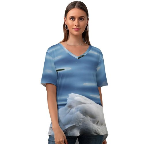 yanfind V Neck T-shirt for Women Self Grooming Swan Wild Bird Hyde Park London Ducks Geese Swans Beak Summer Top  Short Sleeve Casual Loose