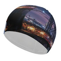yanfind Swimming Cap Zac Ong Williamsburg  Suspension  York City City Lights Night Cityscape Elastic,suitable for long and short hair
