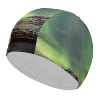 yanfind Swimming Cap Dominic Kamp Northern Lights Aurora Borealis Iceland Elastic,suitable for long and short hair