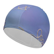 yanfind Swimming Cap Love Heart Golden Letters Bokeh Elastic,suitable for long and short hair