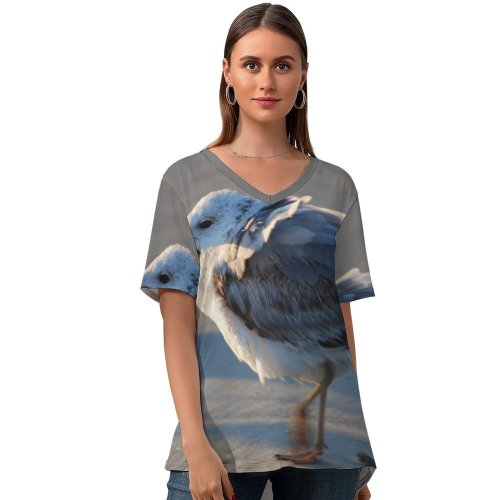 yanfind V Neck T-shirt for Women Seagull Ruffled Feathers Beach Bird Beak Western Gull Seabird European Herring Charadriiformes Summer Top  Short Sleeve Casual Loose