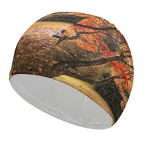 yanfind Swimming Cap William Warby Maple Trees Autumn Leaves Wooden Bench Beautiful Scenery Elastic,suitable for long and short hair