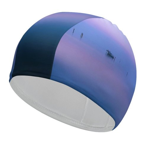 yanfind Swimming Cap William Warby Fishing Huts Venice Italy Reflections Calm Sunset Sea Sky Elastic,suitable for long and short hair