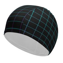yanfind Swimming Cap Abstract Dark Grid Neon Squares Elastic,suitable for long and short hair