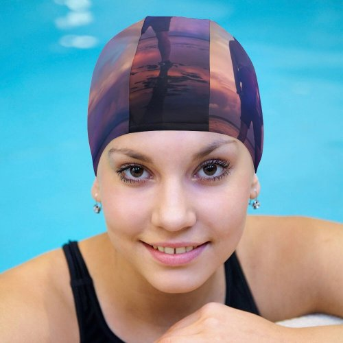 yanfind Swimming Cap Zoltan Tasi Beach Planet  Silhouette Cloudy Sky Outdoor Dusk Sunrise Reflection Elastic,suitable for long and short hair