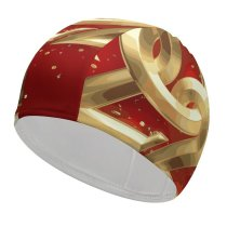 yanfind Swimming Cap Celebrations Year Golden Letters Calligraphic Ribbons Party  Happy Elastic,suitable for long and short hair