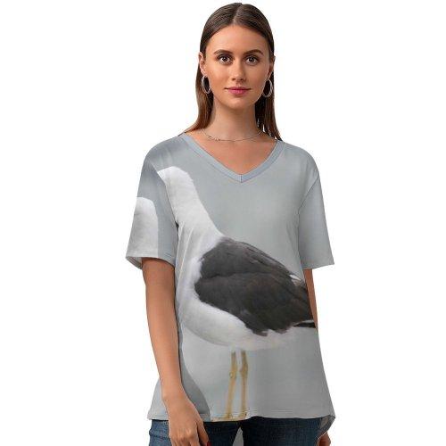 yanfind V Neck T-shirt for Women Seagull Fly Flying Sky Grey Bird Gull Sea Gothenburg Sweden Seagulls Vertebrate Summer Top  Short Sleeve Casual Loose