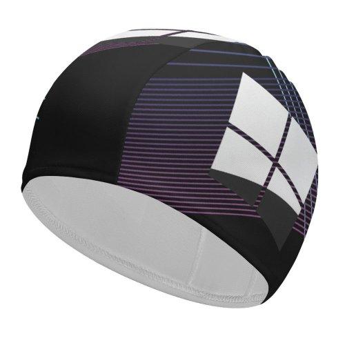 yanfind Swimming Cap Zarif Technology Black Dark Microsoft  Minimal  Dark Purple Elastic,suitable for long and short hair