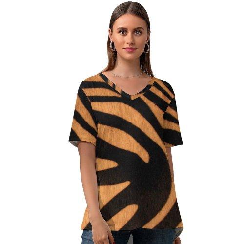yanfind V Neck T-shirt for Women Savage Wildlife Fur Summer Top  Short Sleeve Casual Loose