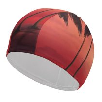 yanfind Swimming Cap Sunset Tropical Trees Silhouette Dawn Warm Elastic,suitable for long and short hair