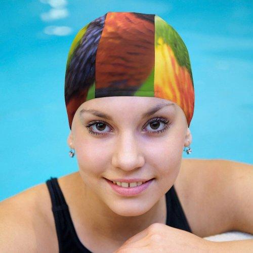 yanfind Swimming Cap William Warby Rainbow Lorikeet Colorful Closeup Bokeh Bird Elastic,suitable for long and short hair