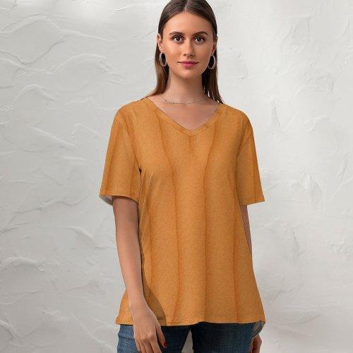 yanfind V Neck T-shirt for Women Sand Sahara Ripples Peach Summer Top  Short Sleeve Casual Loose