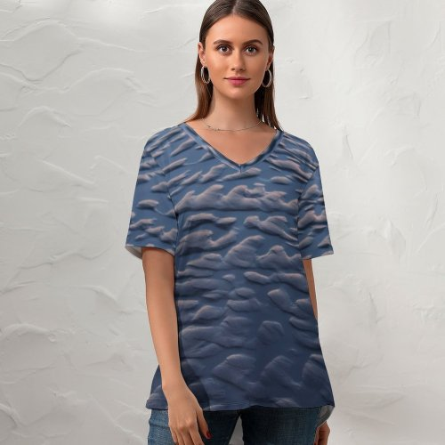 yanfind V Neck T-shirt for Women Sand Beach Tide Ripples Abstract Summer Top  Short Sleeve Casual Loose