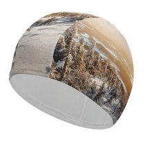 yanfind Swimming Cap Winter Landscape Pine Trees Frosted Trees Sunny Snow Elastic,suitable for long and short hair