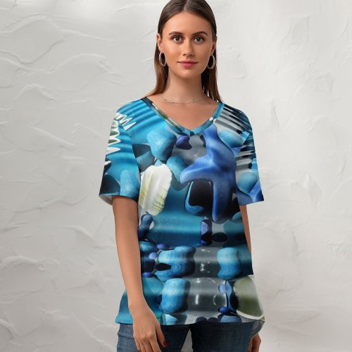 yanfind V Neck T-shirt for Women Sea Ocean Ripple Waves Starfish Stones Beach Underwater Decoration Abstract Colour Shapes Summer Top  Short Sleeve Casual Loose