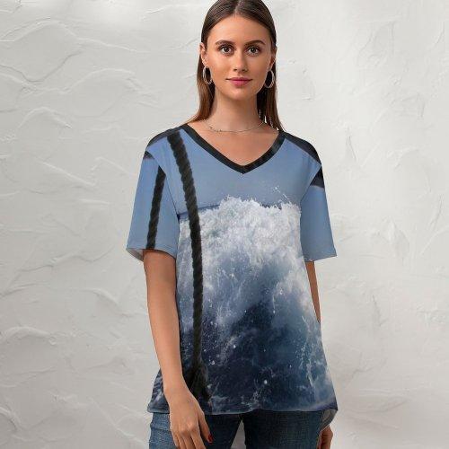 yanfind V Neck T-shirt for Women Sea Waves Foam Boat Wake Ripples Wave Sky Window Wind Tree Cloud Summer Top  Short Sleeve Casual Loose