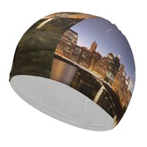 yanfind Swimming Cap York City Brooklyn  Park Cityscape Sunset Elastic,suitable for long and short hair