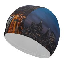 yanfind Swimming Cap Zac Ong Black Dark York City United States Cityscape Night Time City Elastic,suitable for long and short hair