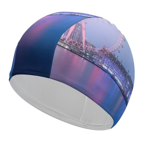 yanfind Swimming Cap William Warby London  Ferris Wheel River Thames Cityscape Dawn Morning Fog Elastic,suitable for long and short hair