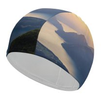 yanfind Swimming Cap Dominic Kamp Lake Lucerne Landscape Mountains Sunset Switzerland Elastic,suitable for long and short hair