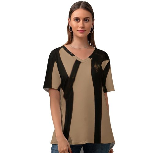 yanfind V Neck T-shirt for Women Sculpture Friendship Friends Dancing Posing Decoration Branch Tree Iron Twig Metal Wood Summer Top  Short Sleeve Casual Loose