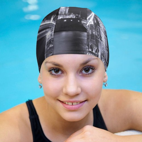 yanfind Swimming Cap William Warby Black Dark   London River Thames Dark Lights Cityscape Elastic,suitable for long and short hair