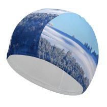 yanfind Swimming Cap PIROD Winter Forest Snow Trees Hill Sky Clear Sky Sky Elastic,suitable for long and short hair