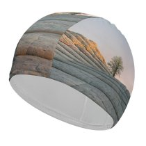 yanfind Swimming Cap MacOS Big Sur Daytime Lone Tree Sedimentary Rocks Daylight IOS Elastic,suitable for long and short hair