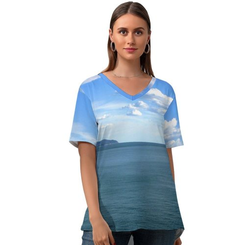 yanfind V Neck T-shirt for Women Sea Landscape Sky Horizon Ocean Resources Daytime Cloud Summer Top  Short Sleeve Casual Loose