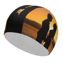 yanfind Swimming Cap Love Couple Silhouette Sunset Backlit Seascape Dawn Beach Romantic Elastic,suitable for long and short hair