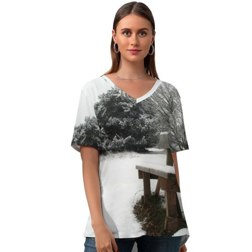 yanfind V Neck T-shirt for Women Snow Ice Winter Season Bench Freezing Natural Landscape Furniture Tree Table Frost Summer Top  Short Sleeve Casual Loose
