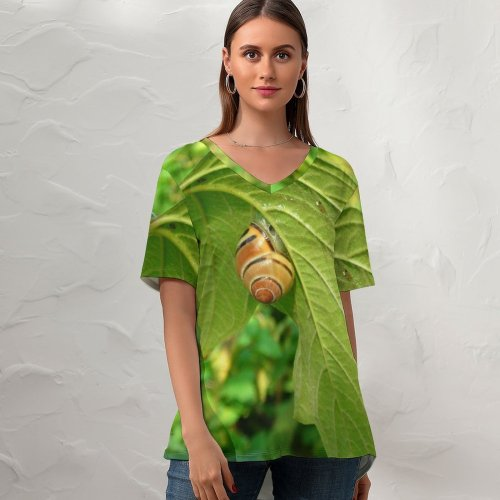 yanfind V Neck T-shirt for Women Snail Leaf Leaves Plant Flower Insect Organism Invertebrate Butterfly Flowering Summer Top  Short Sleeve Casual Loose
