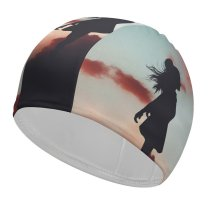 yanfind Swimming Cap Luizclas Girl Mood Silhouette Evening Sky Elastic,suitable for long and short hair