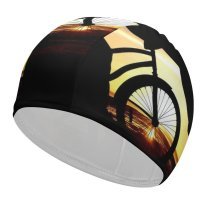 yanfind Swimming Cap Love Couple Sunset Romantic Kiss Bicycle Silhouette Dusk Evening Elastic,suitable for long and short hair