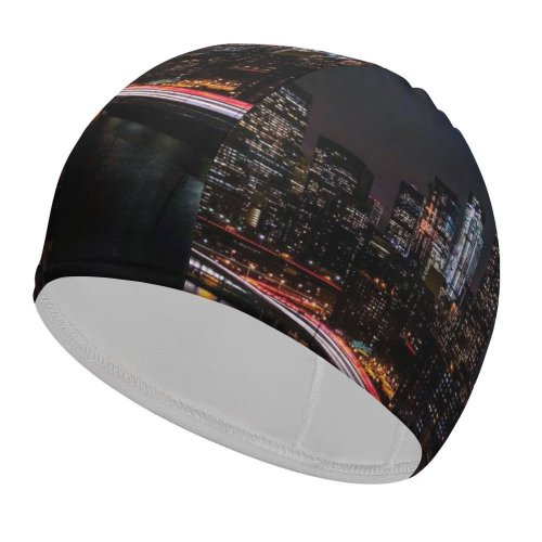 yanfind Swimming Cap Zac Ong Black Dark York City Night Cityscape City Lights Timelapse Night Elastic,suitable for long and short hair