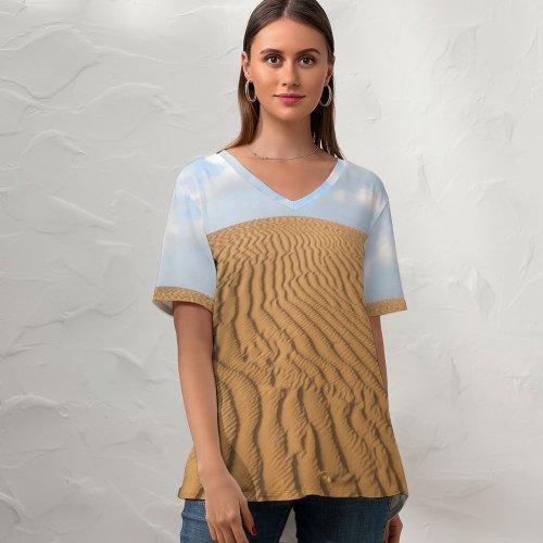 yanfind V Neck T-shirt for Women Sand Sky Muine Phanthiet Desert Erg Natural Aeolian Landform Sahara Dune Ecoregion Summer Top  Short Sleeve Casual Loose