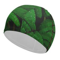 yanfind Swimming Cap Luca Bravo Plant Leaves Branches  Droplets Dew Drops Elastic,suitable for long and short hair