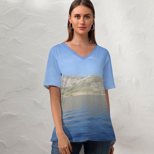 yanfind V Neck T-shirt for Women Sea Sky Land Island Summer Coast Croatia Mediterranean Deep Ocean Lake Horizon Summer Top  Short Sleeve Casual Loose