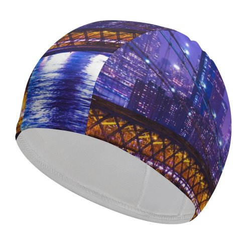 yanfind Swimming Cap Zac Ong York City Night Cityscape Purple City Lights Suspension  Buildings Elastic,suitable for long and short hair