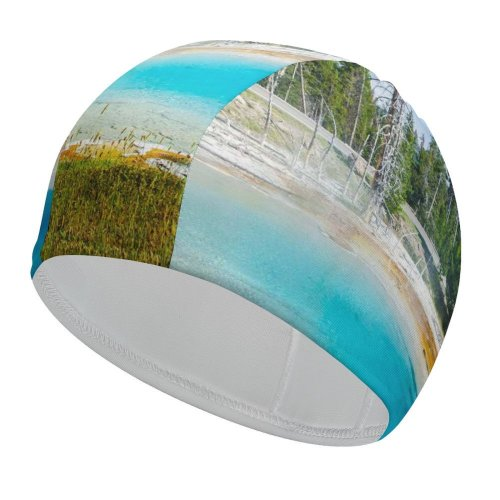 yanfind Swimming Cap Youen California Mudpot Yellowstone National Park Tourist Attraction Trees Landscape Sky Elastic,suitable for long and short hair