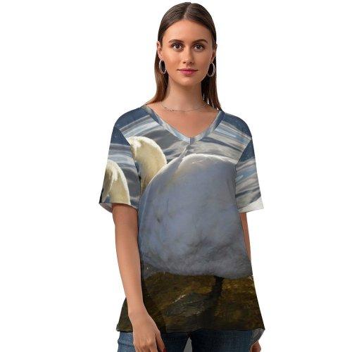 yanfind V Neck T-shirt for Women Self Grooming Swan Birds Swans London Bird Ducks Geese Beak Duck Waterfowl Summer Top  Short Sleeve Casual Loose