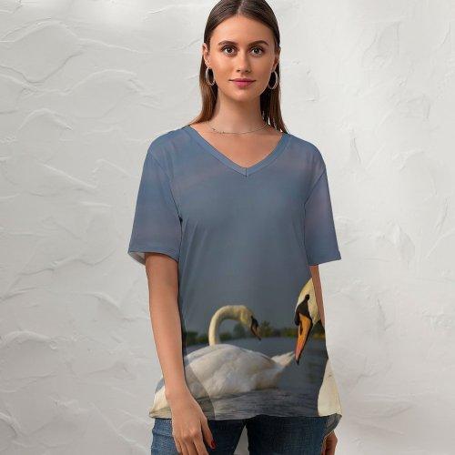 yanfind V Neck T-shirt for Women Scene Bird Elegance Idyllic Lake Landscape Life Outdoors Purity Ripple Rural Swan Summer Top  Short Sleeve Casual Loose