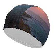 yanfind Swimming Cap Luca Bravo Sunset Cliff Seascape Dawn  Seashore Coastline Sky Elastic,suitable for long and short hair