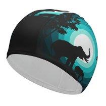 yanfind Swimming Cap Suryapraveen Black Dark Minimal Elephant Elephant Cub Silhouette Night Elastic,suitable for long and short hair