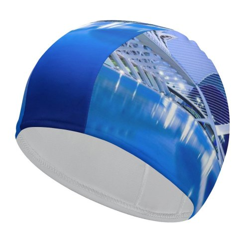 yanfind Swimming Cap William Warby City Sciences Valencia Spain Hour Reflection Lights Dusk Elastic,suitable for long and short hair