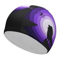 yanfind Swimming Cap Suryapraveen Black Dark Minimal Lion Roaring Silhouette  Night Purple Elastic,suitable for long and short hair
