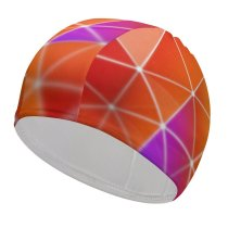 yanfind Swimming Cap Abstract Colorful Triangles Gradients Polygonal Elastic,suitable for long and short hair